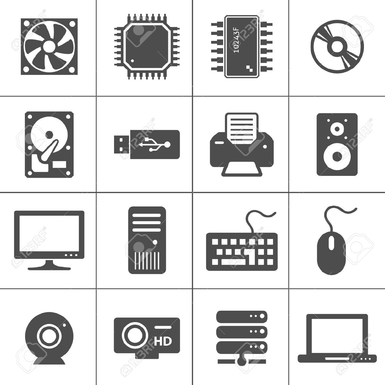 15363997-Computer-Hardware-Icons-PC-Components-Each-icon-is-a-single